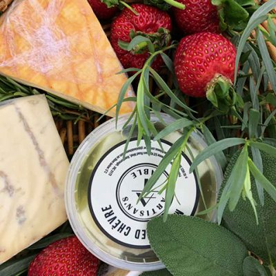 Fresh Produce - Cheese and Strawberry Basket