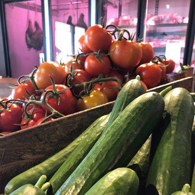 Fresh Produce - Cucumbers & Tomatoes, Free Range Meats